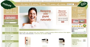 Screenshot of the mypure home page