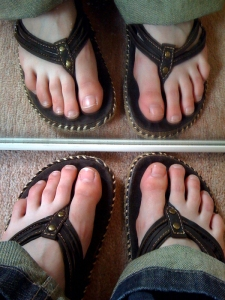 Brown Animal flip flops