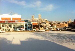 Frozen Brayford Pool and cold Cathedral