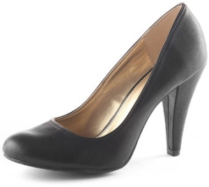 Black Round Toe Court Shoe