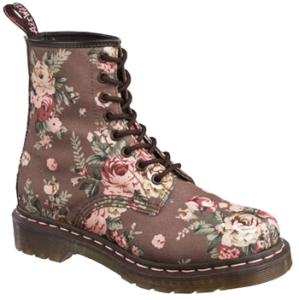 Taupe 1460 8-eye Boot - Taupe Victorian Flowers