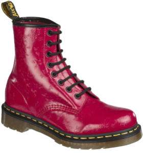 1460 8-eye Boot - Bright Red QQ Flowers