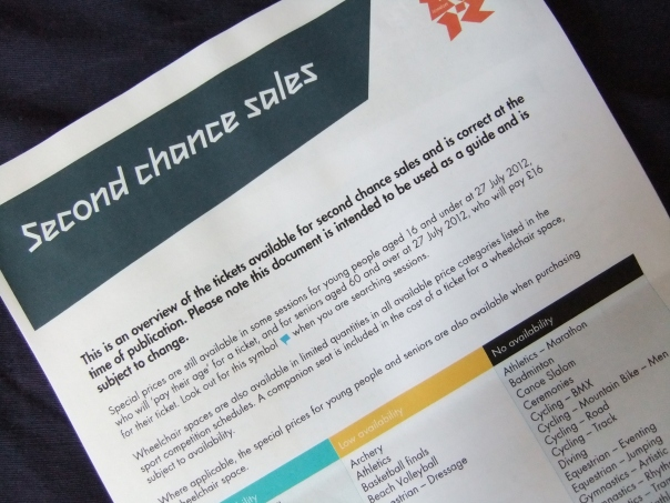 Olympic Second Chance Tickets