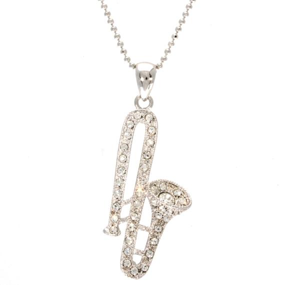 Swarovski Crystal Trombone Pendant