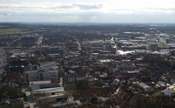 View south over Lincoln from Lincoln Cathedral